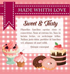 Bakery desserts and pastry cakes poster vector