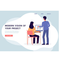 banner with architect agency designers work at new vector image