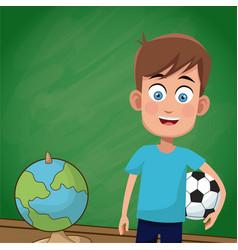 Boy classroom chalkboard sport vector