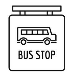 bus stop station sign icon outline style vector image