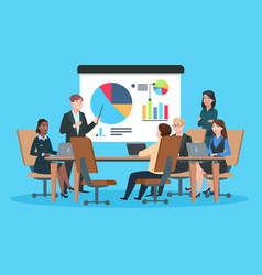 business meeting flat people on presentation vector image