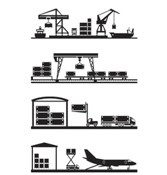 Cargo terminals icon set vector