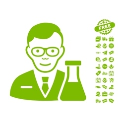 Chemist icon with free bonus vector