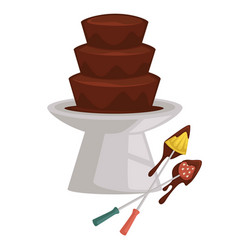 chocolate fountain and fruits on fork fondue vector image
