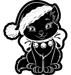 Christmas cat sticker vector