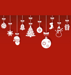 christmas hanging ornaments with shadow on red vector image