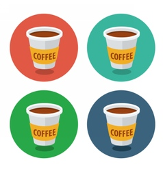 Circle flat icon collection coffee vector