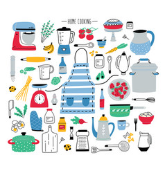 collection of hand drawn kitchen utensils manual vector image