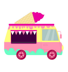 colorful cute cartoon ice cream truck in pastel vector image