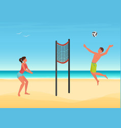 Couple people play volleyball on summer sea beach vector