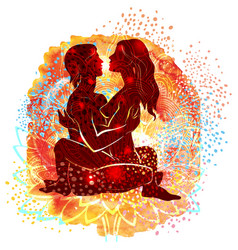 Couple practicing tantra yoga vector
