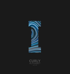 Curly textured letter i vector