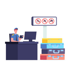 Customs officer male character sitting at desk vector