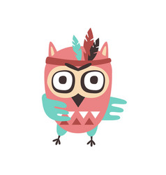 Cute cartoon owl bird with feathers on its head vector