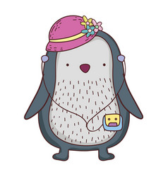 cute little penguin with female hat and walkman vector image