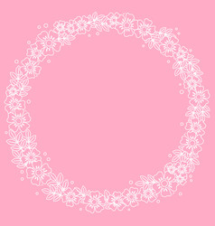 decorative circle frame of white outline flowers vector image