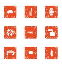 designer look icons set grunge style vector image