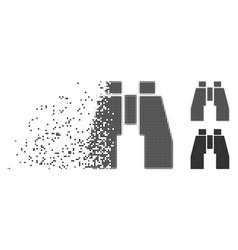 Disintegrating pixel halftone find binoculars icon vector