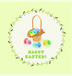 easter eggs in the basket in green leaves frame vector image