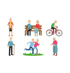 Elderly man and woman in different activities vector