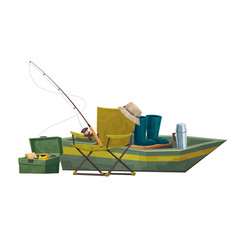 fisherman equipment boat and chair rod vector image
