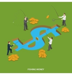 Fishing money flat isometric concept vector