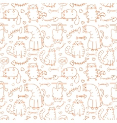 Funny cartoon sketch cats background vector image