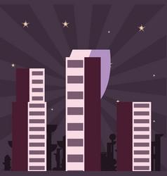 futuristic city urban space night vector image