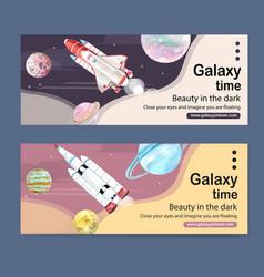 Galaxy banner design with rocket jupiter neptune vector