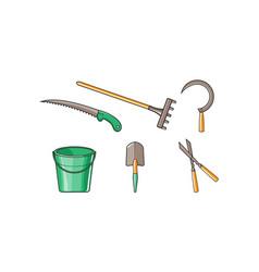 gardening tools icons set bucket rake saw vector image