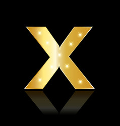 Golden letter x shiny symbol vector