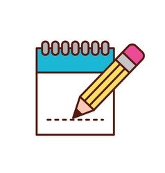 graphic design notepad pencil writing vector image