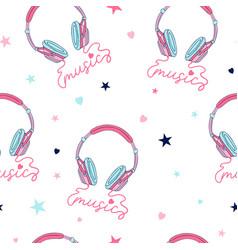 hand drawing print design headphone and slogan vector image