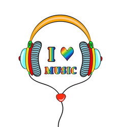 Hand drawn comic headphones with lettering i love vector