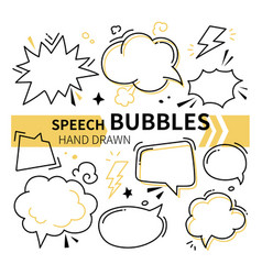 hand drawn speech bubbles collection - set vector image