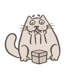 Happy cartoon cat and gift box vector