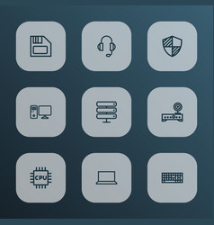 hardware icons line style set with pc notebook vector image