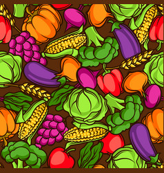 harvest seamless pattern autumn with vector image