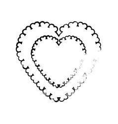 heart label decoration empty sketch vector image