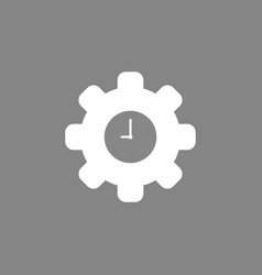 icon concept of gear with clock on grey background vector image