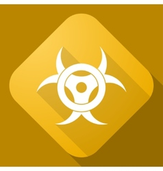 icon of Bio Hazard Sign with a long shadow vector image