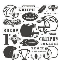 Icons set of campus rugby team vector