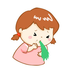 ill girl vomiting cartoon vector image