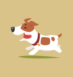 Jack russell puppy character running cute funny vector