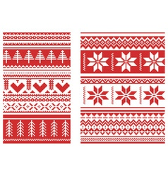 Knitted ornament red vector