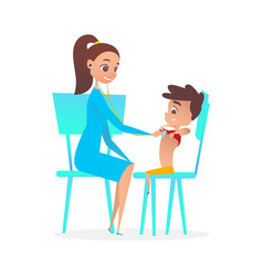 lady pediatrician doctor examining boy patient vector image