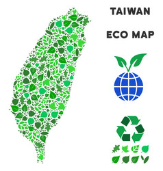 leaf green composition taiwan island map vector image