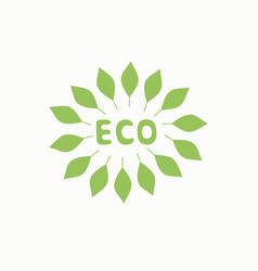 Logo with inscription eco and green leaves vector