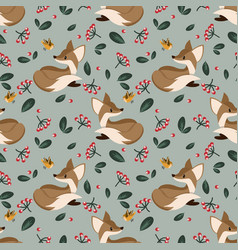 lovely seamless pattern with cute foxes vector image