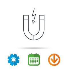 Magnet icon magnetic power sign vector